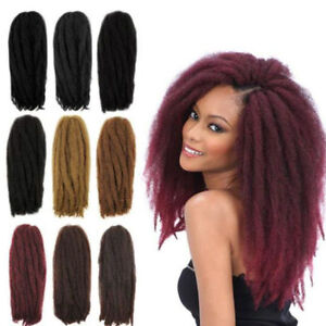18 Synthetic Marley Braids Soft And Fluffy Afro Kinky Curly Twist Braiding Hair Ebay