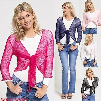 Ladies Shrug Cardigan Bolero Womens Top Crochet Knitted Cropped Lace Size 8-14