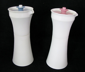 Vintage Tupperware Cruets Set Oil Vinegar Dressings Contry Pastel Blue Pink NEW