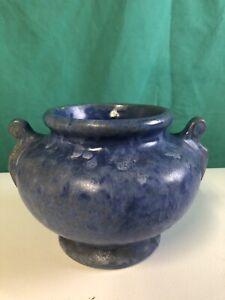 Vintage Pottery - Matte Blue - Handled Vase