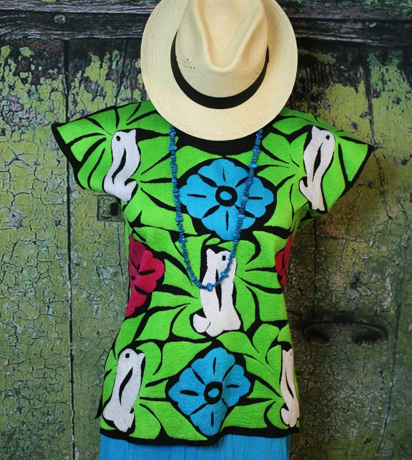 Mexican Huipil Hand Embroiderot Jalapa Oaxaca Lime & Multi Farbe Fiesta Cowgirl