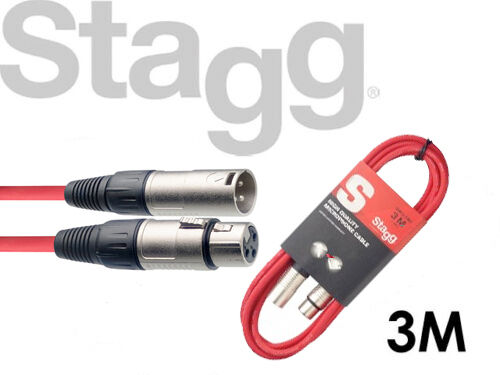 Stagg Microphone Mic Cable SMC3 3 Meter XLR Male to XLR Female RED FREE P/&P