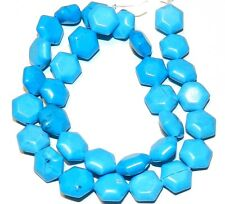 "NG1112f Blue Turquoise 14x13mm Flat Puffy Hexagon Magnesite Gemstone Beads 16"""