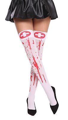 Calze Donna Infermiera Halloween Bianco Sangue Rosso Blutverschmiert Zombie