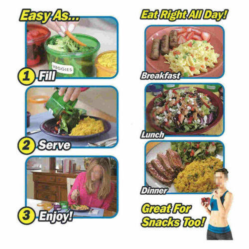Weight Loss Diet Healthy Eating Portion Control Labelled Food Containers 7 Set