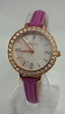 Relic by Fossil Rose Gold Tone Fuchsia Leather Strap Kerri Watch ZR34217