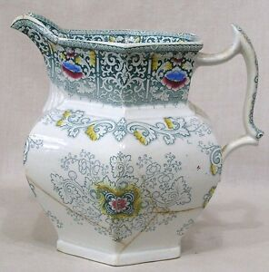 Vintage-Zamara-Pattern-Ironstone-Milk-Pitcher-Needs-TLC-7-1-2-034-Tall