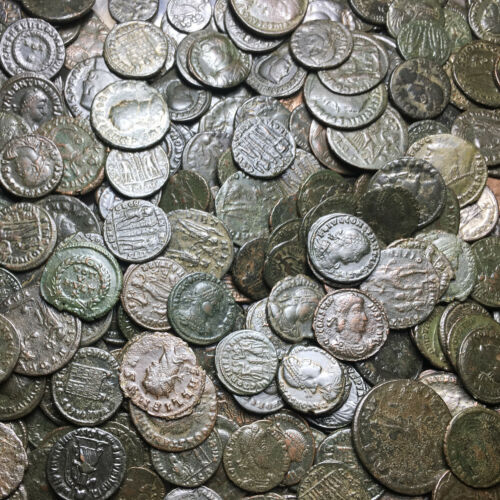PREMIUM LOT OF 5 ROMAN BRONZE AE 3 /& 2 FOLLIS COINS