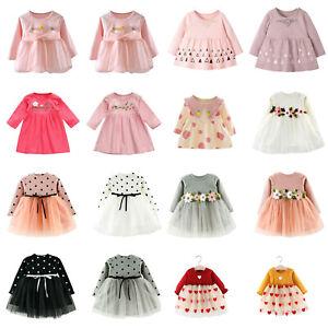 Flower-Autumn-Baby-Girls-Clothes-Dress-Kids-Girl-Clothing-Skirt-Infant-Dress-LOT