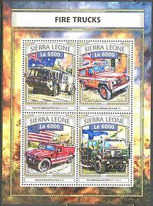 Sierra-Leone-2016-camions-de-pompiers-feuille-neuf-sans-charniere
