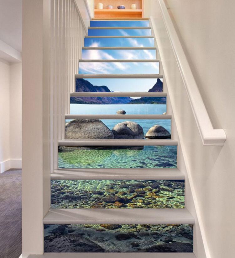 3D lake mountain Clear Risers Decoration Photo Mural Vinyl Decal Wallpaper CA