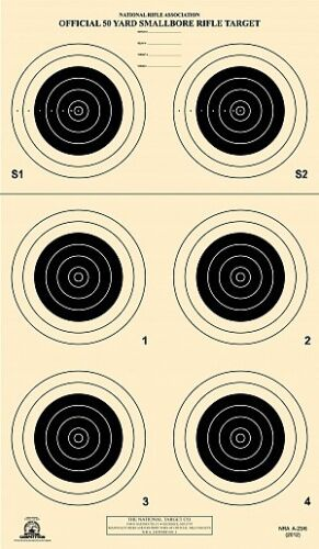 100 on Tagboard A-23//6 A23//6 NRA Official 50 Yard Smallbore Rifle Target