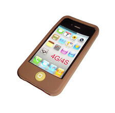 NEW BROWN SILICONE RUBBER GEL APPLE IPHONE 4 4S CASE BUY ONE GET ONE FREE