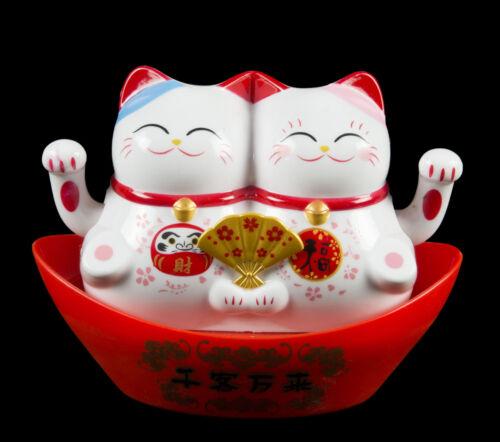 Couple Chat Chinois Japonais Blanc Maneki Neko Solaire-daruma 516 W2