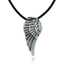 Titanium angel wing pendant / Collana unisex pendente ala piumata titanio #CU21