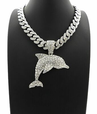 """ICED OUT YOUNG DOLPH DOLPHIN PENDANT WITH 18/"""" ICED OUT CUBAN CHAIN"""