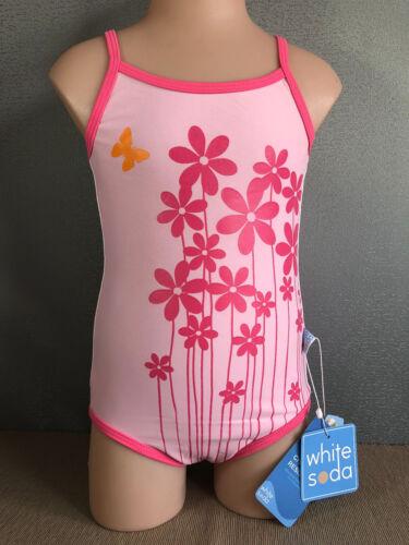 BNWT Girls Sz 8 White Soda Pink Flowers Full Back One Piece Swim Bathers UPF 50+