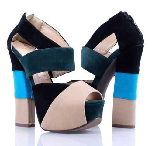 2 Color Peep Toe Platform Ankle Strappy Fashion Womens Chunk Heels Wedge Shoes