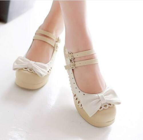 Vintage Womens Lolita Bowknot Ankle Strap Block Heels Mary Jane Pumps Shoes New