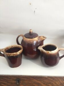 Hull-Pottery-Brown-Drip-Tea-Pot-Creamer-amp-And-1-Cup