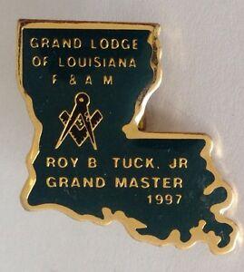 Freemasons-Lodge-Of-Louisiana-Grand-Master-1997-Pin-Badge-Rare-Vintage-J5