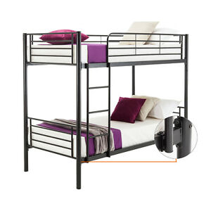Black Bunk Beds Twin Over Twin Kids Adult Furniture Bedroom Ladder