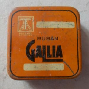 Ancienne-boite-Metal-Tole-Ruban-GALLIA-orange-France