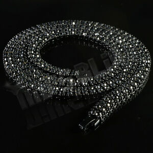 Image Is Loading Jet Black Onyx 2 Row ICED OUT Lab