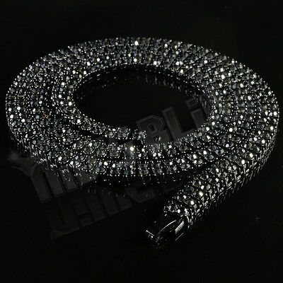 Jet Black Onyx 2 ROW Iced Out Crystal Lab Diamond Chain Hip Hop Bling Necklace