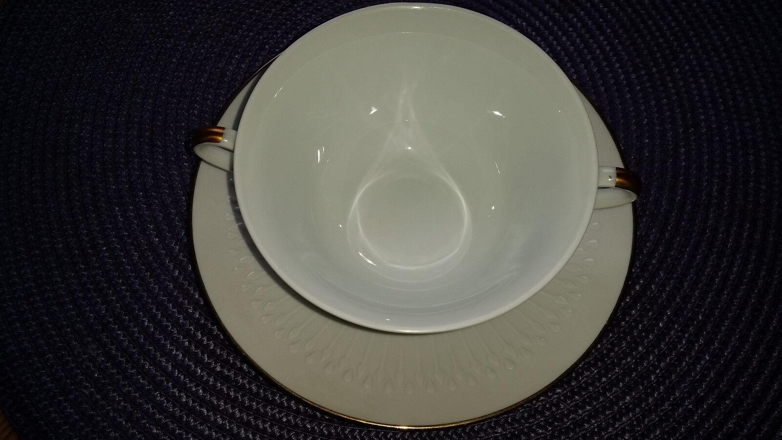 4 Suppentassen mit Untertassen Hutschenreuther Luxor Goldrand 3 mm      | Neuheit Spielzeug  070e3b