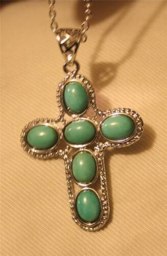 Lovely Metal Beaded Veined l Blue Green Ovals Cross Silver Pendant Necklace