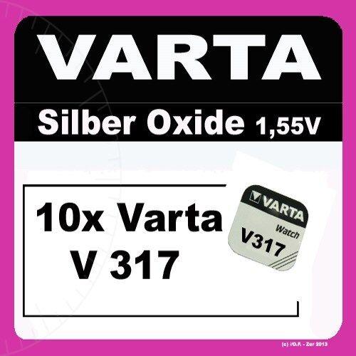 10x V317 Uhren-Batterie Knopfzelle SR62 SR516 VARTA Neu