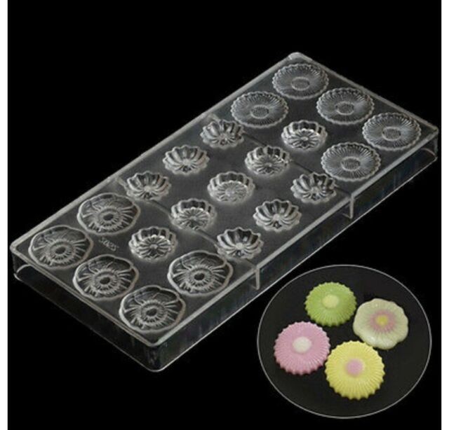24 DIY Polycarbonate Clear Chocolate Molds Candy Jelly Cookie Cake Mould Trays