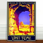 "Stunning Vintage Travel Poster Art ~ CANVAS PRINT 8x10"" ~ Visit Rome Colosseum"