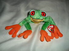 "NEW TY BEANIE BABIE HTF 2001 GREEN & ORANGE RAINFOREST  FROG  ""PANAMA""  MWMT"