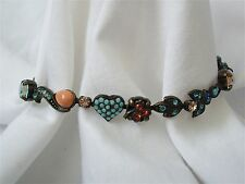 SORRELLI Turquoise, Coral and Crystal Signed Bracelet