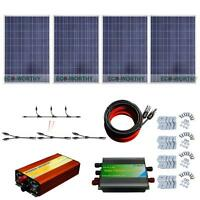2100watt 300w 400w Solar Panel Kit W/ 1kw Inverter 12v Rv Home Off Grid System