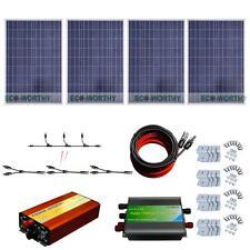 400W Watt 4*100W Solar Panel Complete Kit 1KW Pure Sine Wave Inverter Home Boat