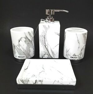 Image Is Loading Dkny 4 Pc Set White Gray Marble Pattern