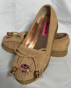 Betsey-Johnson-Betseyville-Size-6-5-M-Beige-Tan-Leather-Beaded-Moccasin-Shoes