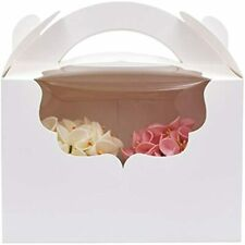 Zealax Bakery Cupcake Box For 2 Cupcakes Holder Paper Clear Window Gift With