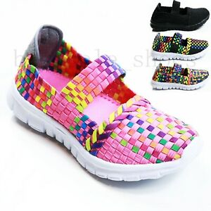 GIRLS-SCHOOL-KIDS-SPORT-TRAINERS-LIGHT-WEIGHT-PUMPS-CASUAL-SLIP-ON-SHOES-SIZES