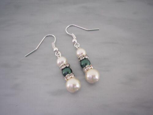 Long Vintage Style Pearl /& Diamante Drop Dangle Hook Earrings Ear Rings 2DR
