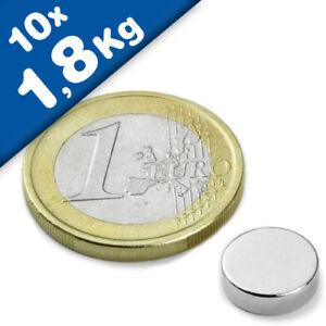 hält 1,8kg Neodym N35 Nickel Rundmagnet Ø 10x 3mm 10 x Scheibenmagnet
