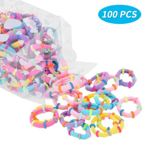 100 Pcs Multi Baby Kids Girl Elastic Hair Bands Ponytail Holder Head Rope Ties