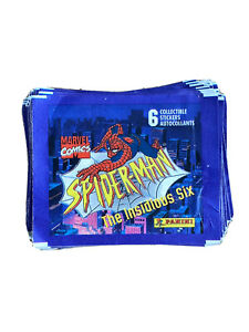 95x Spider-Man The Insidious Six Collectable Empty Sticker Packs Panini - 1996