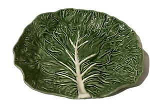 "Large Vintage 14 1/2"" 4 Footed Serving Bowl Majolica Portugal Green"