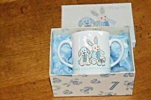 Cavania-London-Little-Feet-Blue-Double-Handled-Ceramic-China-Cup-Mug-New-Unused
