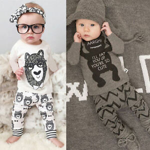 bbe51b3c348f Toddler Baby Boy Girls Monster Long Sleeve T-shirt+Pant Outfit Set ...