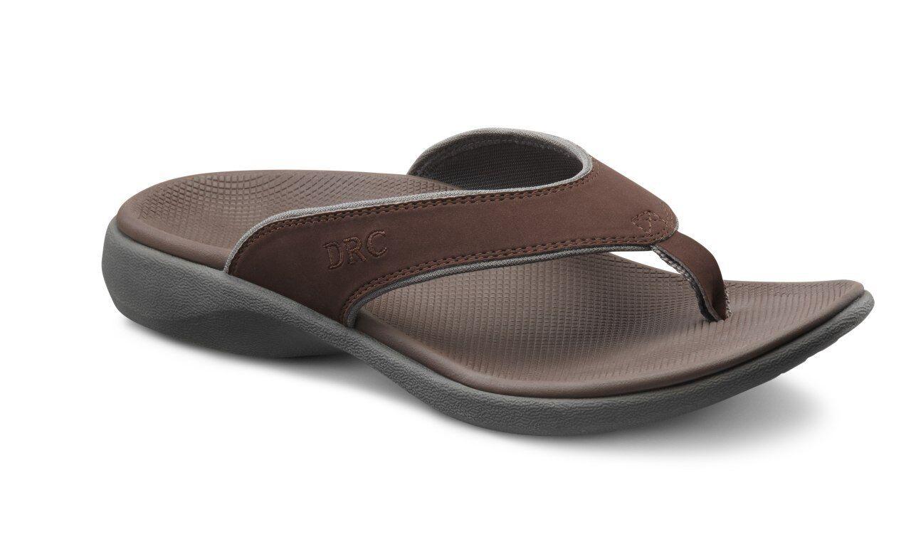 Dr Comfort Men's Orthotic Thongs Collin Flip Flop's Chocolate